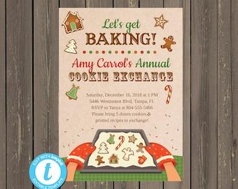 Christmas Cookie Exchange Invitation, Christmas Cookie Swap Invitation, Cookie Decorating Party, Easily Editable