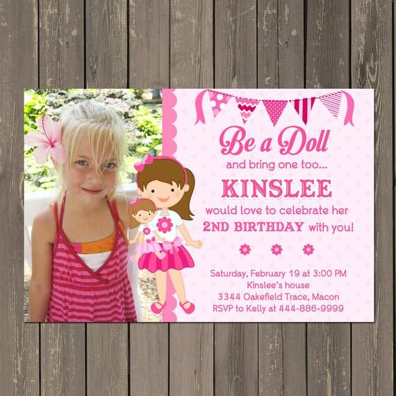 Doll Birthday Party Invitation Baby Invite Tea Any Hair Color