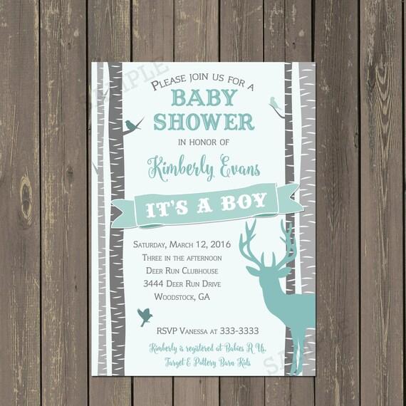 Rustic Deer invitation Baby Boy Shower Invitation Printable or Printed Deer Baby Shower Invitation Birch Tree Baby Shower Invite