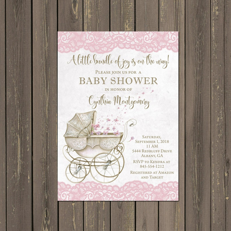 Stroller Baby Shower Invitation Vintage Look Baby Carriage Etsy
