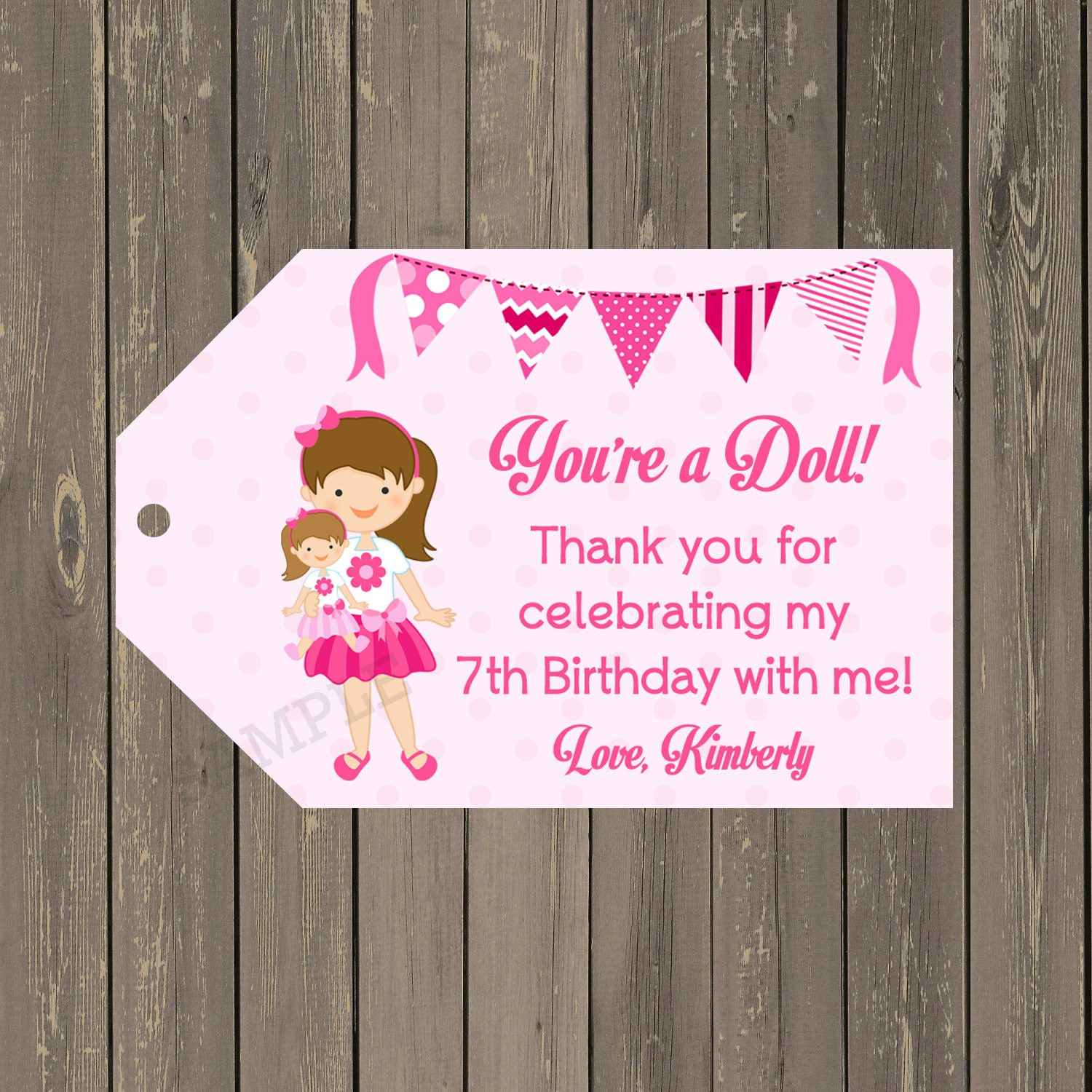 Doll Birthday Party Favor Tags Doll Baby Favor Tags Baby | Etsy
