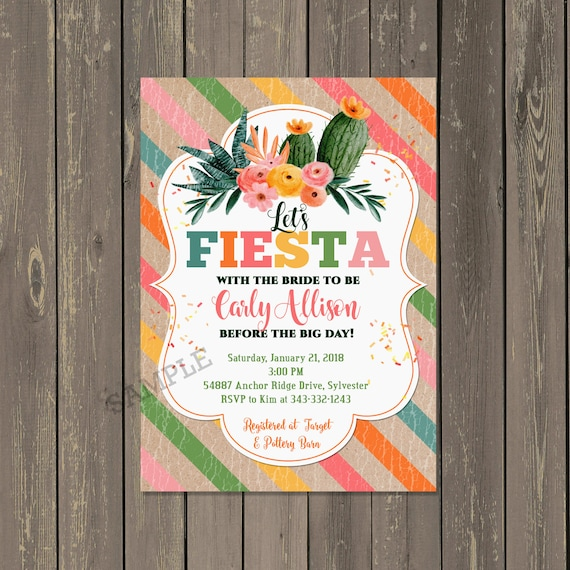50e1eb9a97f0 Cactus Bridal Shower Invitation Fiesta Bridal Shower