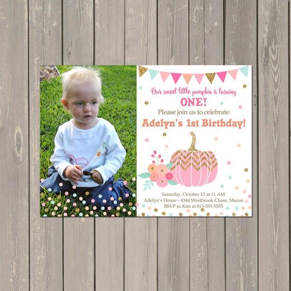Pink Pumpkin Birthday Invitation, Fall Pumpkin Girls Birthday Party Invitation, Photo Birthday Invitation, Pink and Gold, DIY or Printed