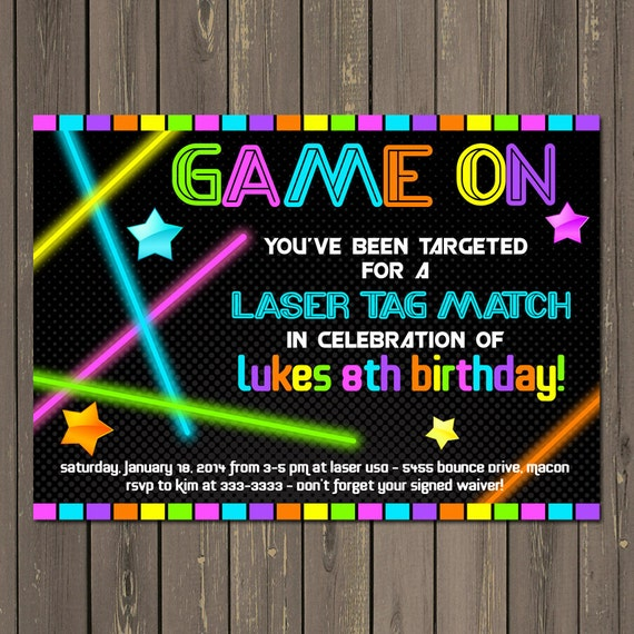 Laser Tag Invitation Laser Tag Birthday Invitation Neon Party