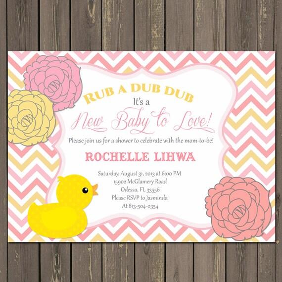 rubber duck baby shower invitation pink duck baby shower invitation