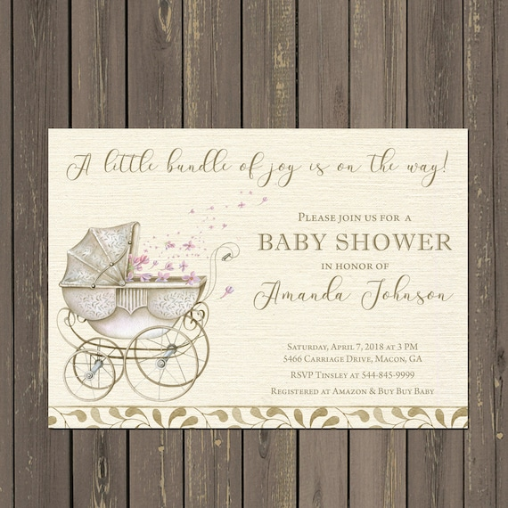 Stroller baby shower invitation vintage look stroller shower etsy image 0 filmwisefo