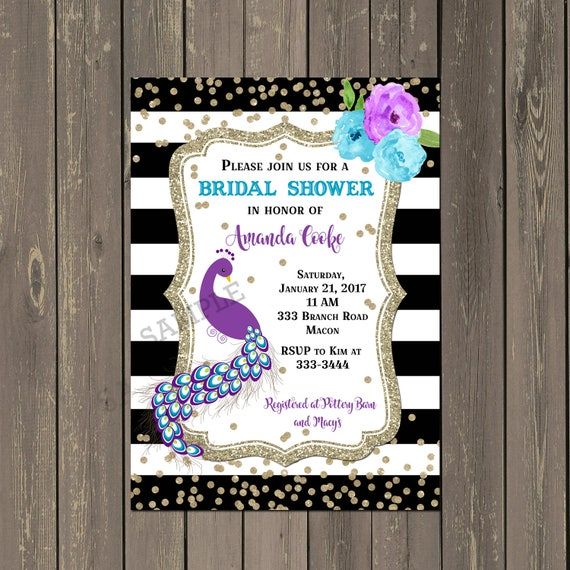 6cc647b2465 Peacock Bridal Shower Invitation Peacock Feather Shower