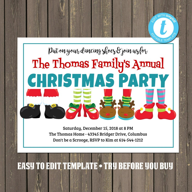 Funny Christmas Party Invitation Family Holiday Pajama Slippers Invite Easily Editable Instant Download