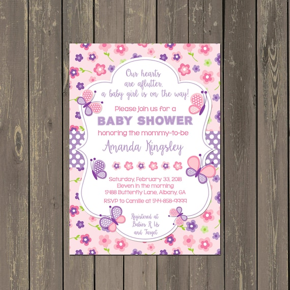 Butterfly Baby Shower Invitation Butterfly Shower Invitation Pink
