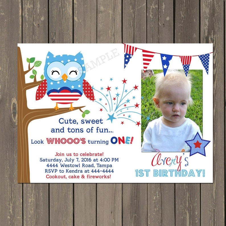 July 4th Birthday Invitation Owl Red