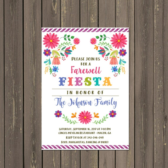 Mexican Fiesta Going Away Party Invitation Farewell Party