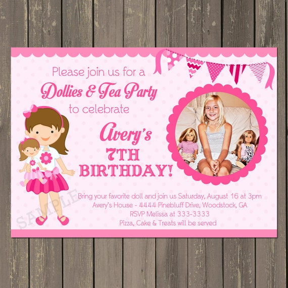 Doll Birthday Party Invitation Baby Invite Tea Any Hair Color