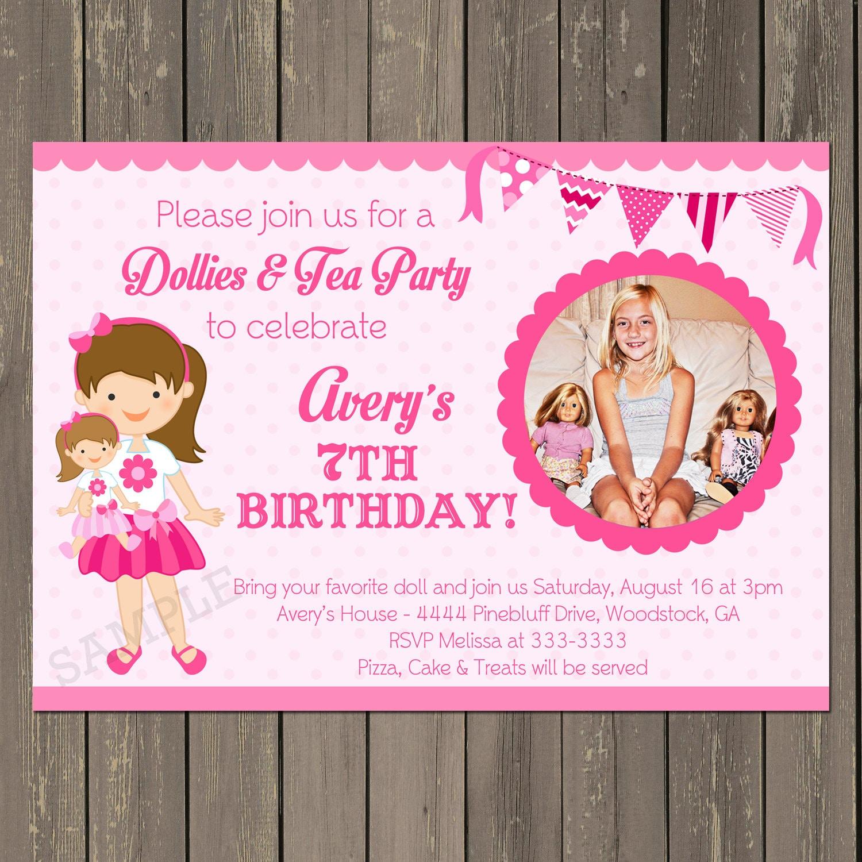 Doll Birthday Party Invitation Baby