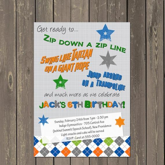 zip line birthday invitation ropes course invite trampoline party