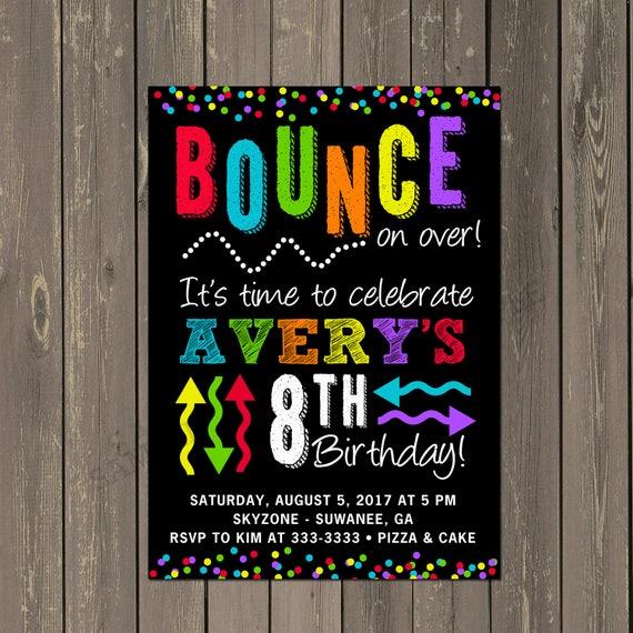 Bounce Party Invitation Trampoline Park Birthday Party Invitation