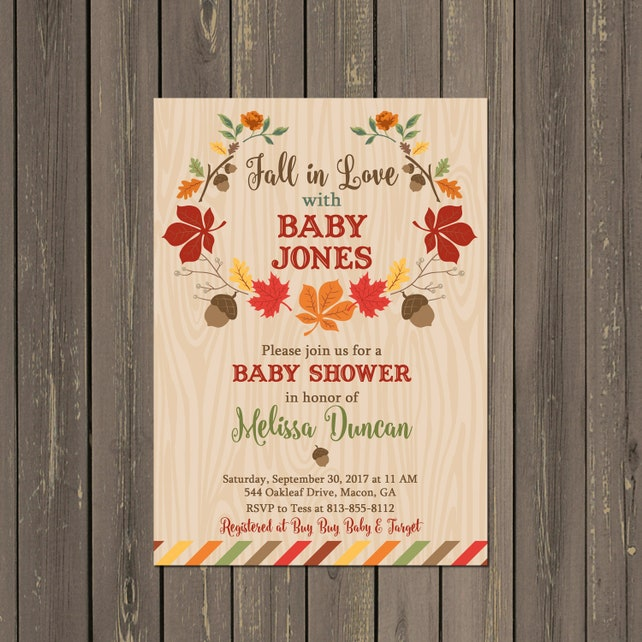 Fall Baby Shower Invitations, Fall in Love Baby Shower Invitation, Fall in Love Baby Shower Invitation, Autumn Shower, Printable or Printed