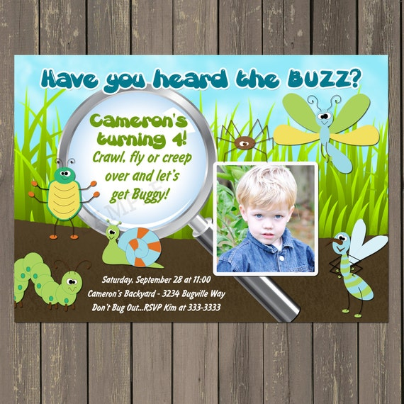 Bug Birthday Party Invitation Boys Insect Themed Invitations Printable Or Printed