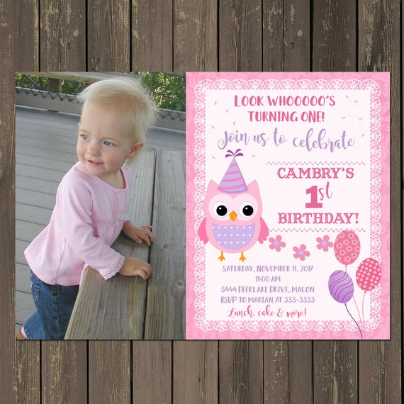 Owl 1st Birthday Invitation Party Invitations In