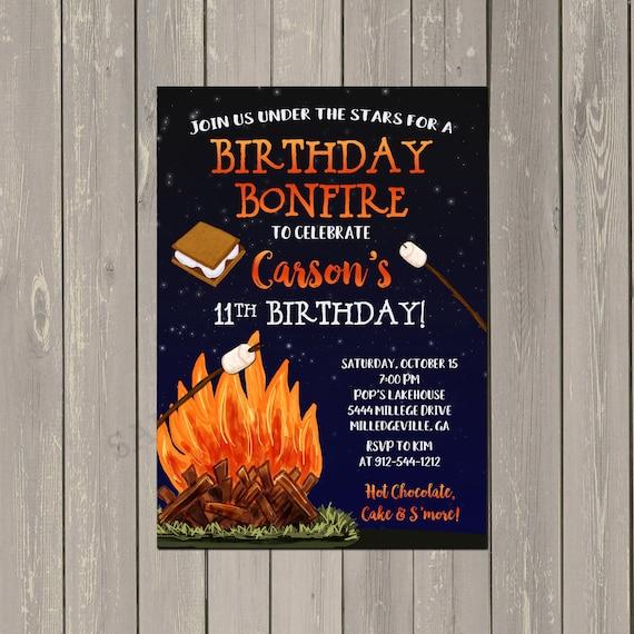 Bonfire Under The Stars Birthday Party Invitation Camping Campfire