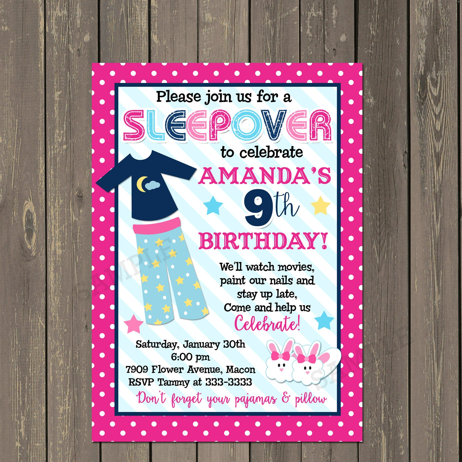 Slumber Party Invitation Girls Slumber Party Invitations Etsy