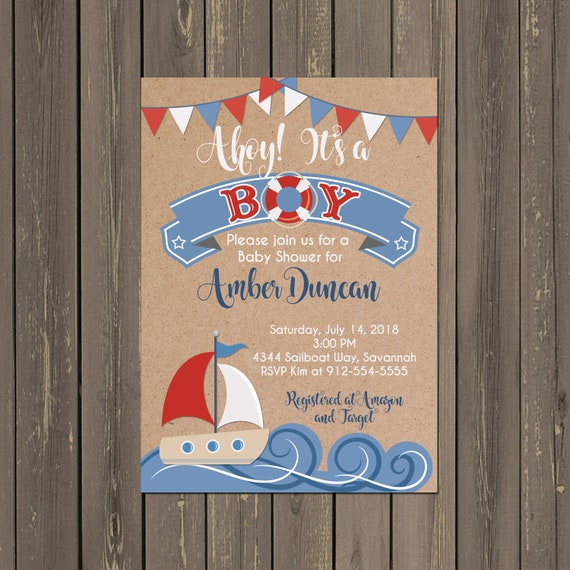Nautical Sailboat Baby Shower Invitation Ahoy Its A Boy
