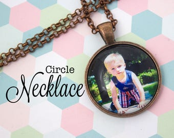 Custom Photo Necklace - Photo Jewelry - Copper Circle Necklace - Personalized Photo Pendant - Personalized Gift - 25 mm / 1 in Circle