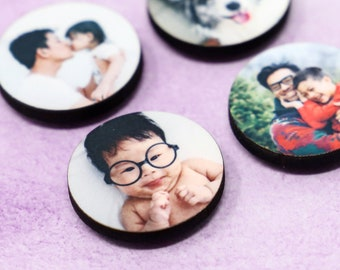 Photo Magnets - Personalized Magnets - Small Circle Magnets - Custom MDF Magnets