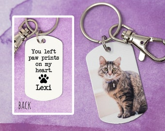 Pet Loss Dog Tag - You left paw prints on my heart - Custom Dog Tag - Photo Dog Tag - Pet Memorial Keychain - Cat Remembrance
