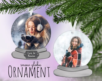 Snow globe Photo Ornament - Double Sided Ornament - Snowglobe Ornament - Personalized Ornament - Photo Ornament