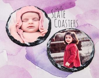 Photo Slate Coaster Set - Set of Custom Coasters - Custom Slate Coaster - Personalized Coaster Set - Circle Slate Coasters