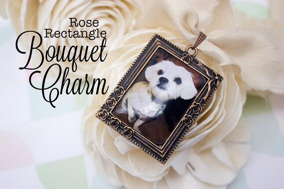 Custom Bouquet Charm - Rose Bouquet Charm - Photo Bouquet Charm - Wedding Photo Gift - Antique Copper Bouquet Charm - 25 x 35 mm Rectangle