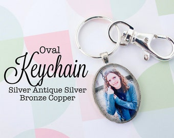 Custom Photo Keychain Oval 22x30 mm Key chain Personalized Gift Silver, Antique Silver, Antique Bronze and Antique Copper