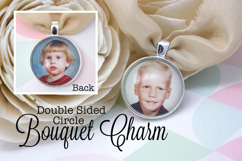 Two Photo Bouquet Charm Silver Bouquet Charm Double Sided Custom Bouquet Charm 25 mm  1 in Circle Double Bride Bouquet Charm