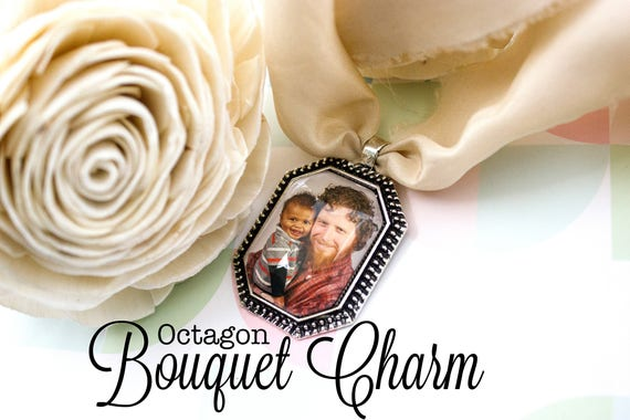 Custom Bouquet Charm - Vintage Bouquet Charm - Photo Bouquet Charm - Wedding Photo Gift - Antique Silver Charm - 22x30 mm Octagon
