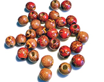 Pack of 10 Ethnic African Tribal Art Style Wooden Beads with Large 4mm hole