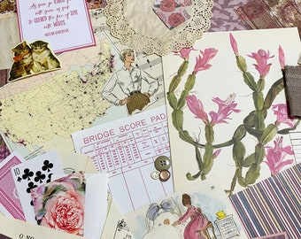 Stationary Pack Ephemera Lot Vintage Hymnal Pages Florals Floral Ephemera Pack Junk Journaling Supplies 65 Pieces