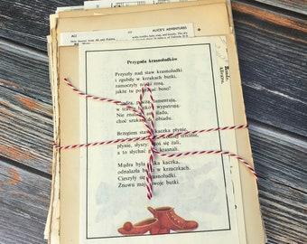 100 Vintage Book Pages, Paper Bundle, Vintage Paper, Ephemera, Junk Journal Kit, Mixed Paper Bundle, Sheet Music, Literature Pages, Atlas