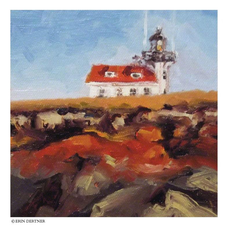 Point Cabrillo Lighthouse Art  by Erin Dertner  4.25 Ceramic Tile