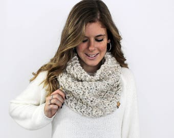 Knit Scarf Chunky, Scarves Knitted Cowl Wheat- Calvert Cowl