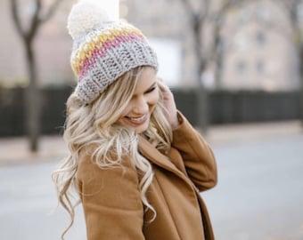 Chunky Knit Hat, Knitted Women's Hats Slouchy Pom Pom- Ellicott Hat