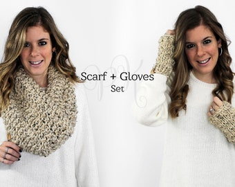 Scarf Gloves Set Knit, Scarves Fingerless Gloves Knitted