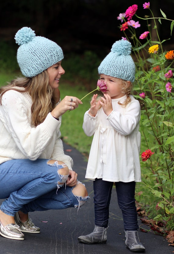 Mom and Me Hat Set, 16 Colors, Mother Daughter Hats, Pom Hats, Knitted Hat Set Gift