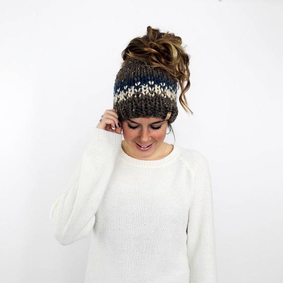 264dc762075 Bun Hat Knit Ponytail Hat Messy Bun Beanie Headband Pony
