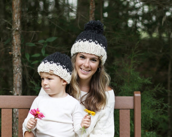 Mom and Me Hat Set, Mother Son Beanie Hats, Childrens Hats, Knitted Hat Set Gift