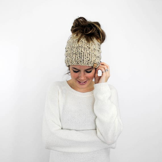 Messy Bun Hat Ponytail Hat Knit Bun Running Hat Oatmeal  f0a7b1aeaa4