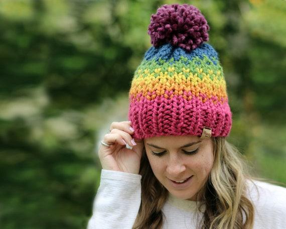 Rainbow Hat, Knitted Hat, Pom Pom, Pride- Ellicott Hat