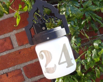 one of a kind personalized UNIQUE GIFT address sign / house number- solar powered light