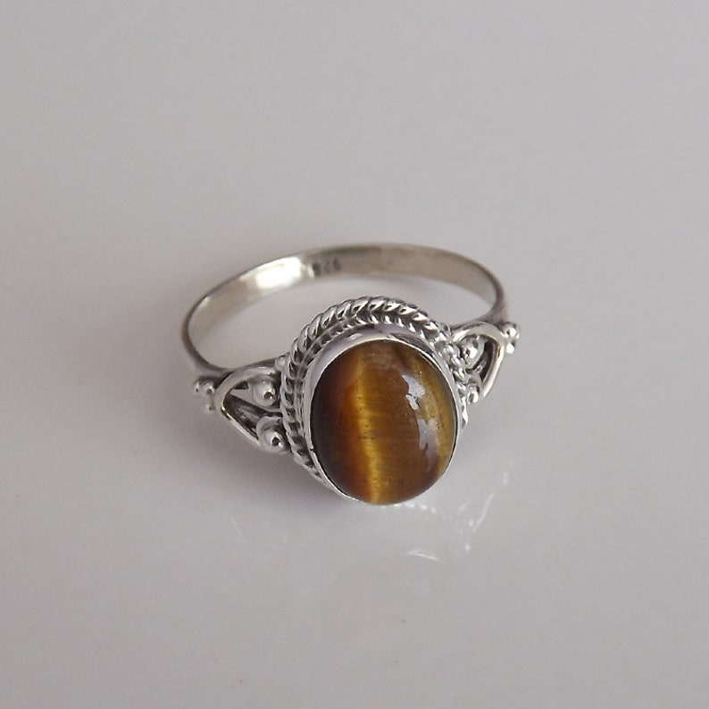 Tiger Eye Silver Ring Cocktail Ring Anniversary Gift Easter 925 Sterling Silver Brown Gemstone Gift For Her Birthday Handmade Ring
