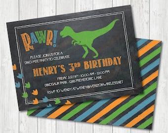 RAWR! Dinosaur Birthday Invitation, Dinosaur Party Invitation, Boys Dinosaur Party, Dinosaur Printable Invitation, Dinosaur Digital Invite