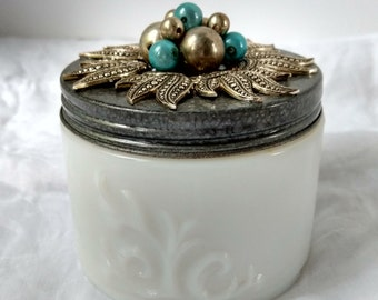 Pewter Sun & Turquoise Trinket Storage Jar